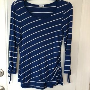 NWOT Spense 3/4 Sleeve Top Stripes blue